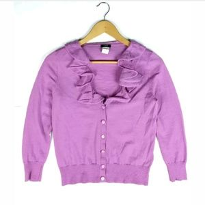 J Crew Merino Wool Rose Corsage Cardigan Sweater